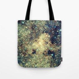 Galaxy Gold & Blue Stars Tote Bag