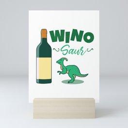 Winosaur Wine Dinosaur  Mini Art Print