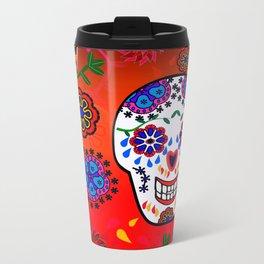 Sugar Skulls in Red  (Calavera) Metal Travel Mug
