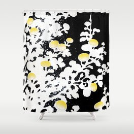 White Yellow Flowers on Black Background Shower Curtain
