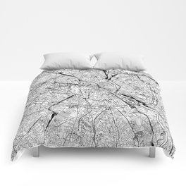 Paris White Map Comforters