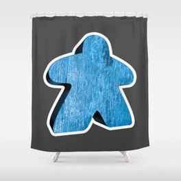 Giant Blue Meeple Shower Curtain