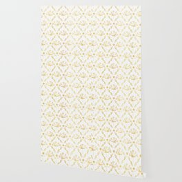 Luxe Gold Foil Floral Lattice Seamless Vector Pattern, Hand Drawn Damask Wallpaper