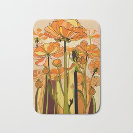 70s, Orange California poppies, mid century, 70s retro, flowers Bath Mat