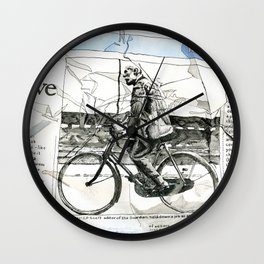 CP Scott on a Bicycle Wall Clock