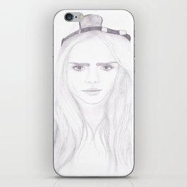 Cara Delevingne inspired portrait iPhone Skin