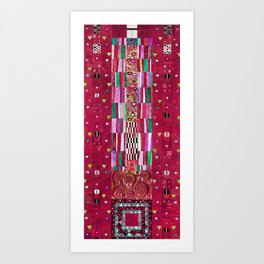 "Gustav Klimt ""Stoclet Frieze - design"" burgundy red Art Print"