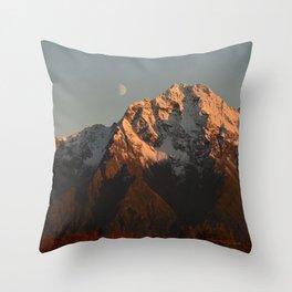 Moon Over Pioneer Peak Throw Pillow