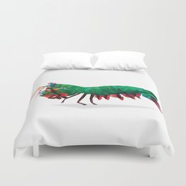 Geometric Abstract Peacock Mantis Shrimp  Duvet Cover
