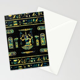 Egyptian  Gold and Blue Marble Ornament Stationery Cards