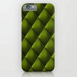 Olive Green Polished Quilted Leather Padding iPhone Case