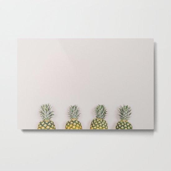 Pineapples in a Row Metal Print
