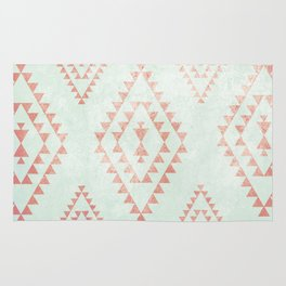mint & coral tribal pattern Rug