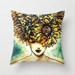 Flower Lady Throw Pillow