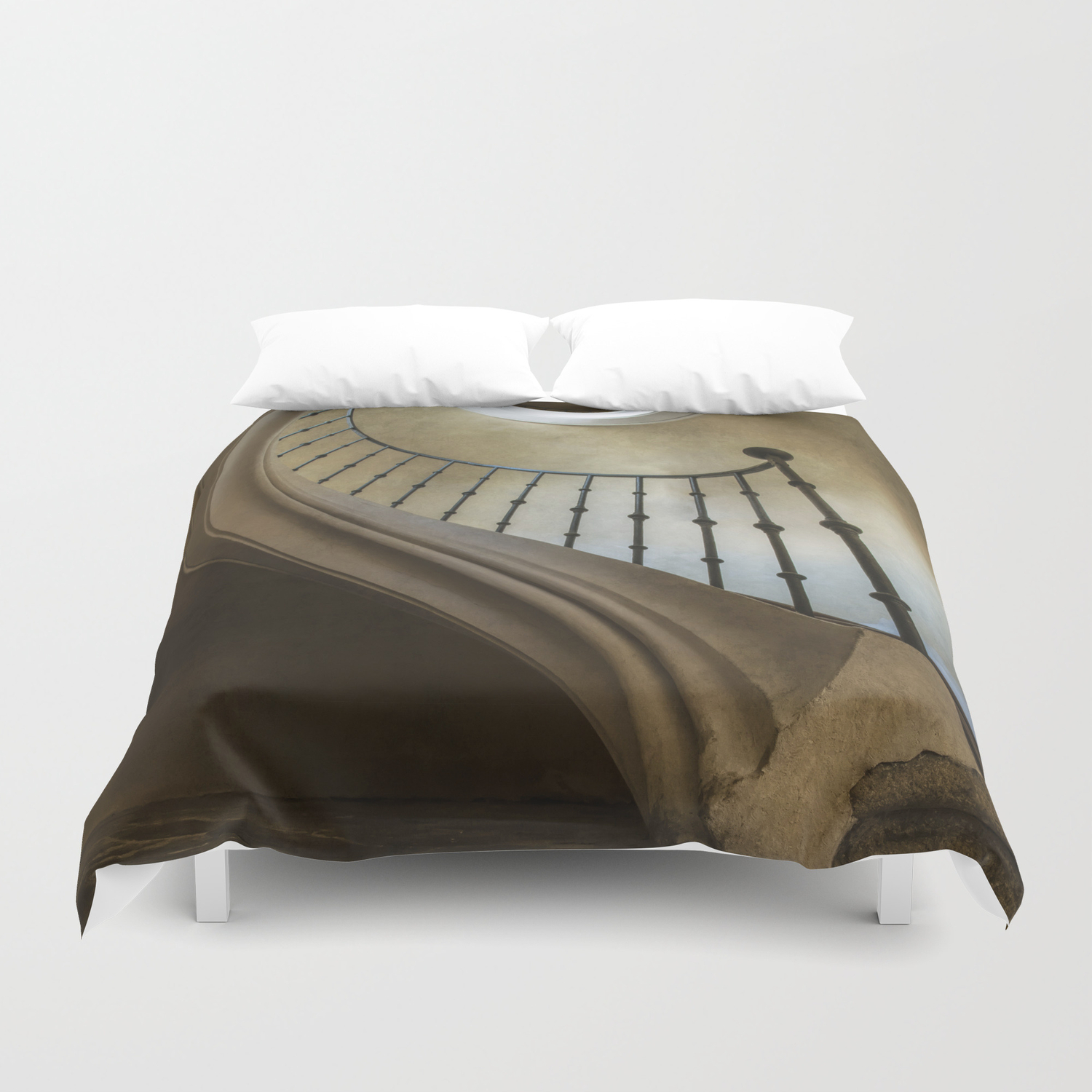 When laying on the floor Duvet Cover by