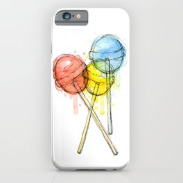 Lollipop Red Blue Yellow Candy Food Watercolor iPhone Case