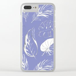 pattern with tropical white leaves Clear iPhone Case