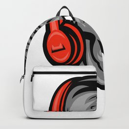 Gorilla Headphones Head Mascot Retro Backpack