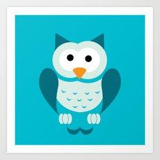 Minimal Owl Blue Art Print