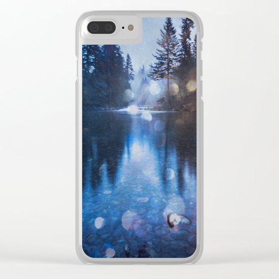 Magical Blue Forest Water Reflection Clear iPhone Case