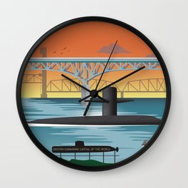 Groton, CT - Retro Submarine Travel Poster Wall Clock