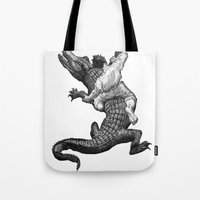 wrestling Tote Bags featuring Crocodile wrestling! by Noughton