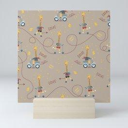cool giraffe beige background Mini Art Print