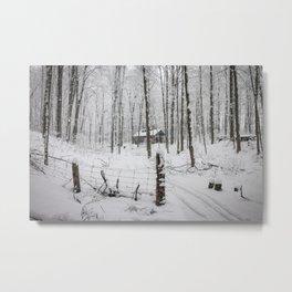 Shack in the Snow Metal Print