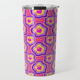 'I Love You Umlaut' Valentine's Pattern - Neon & Bright Travel Mug