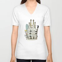 barcelona V-neck T-shirts featuring Barcelona by Jaume Tenes