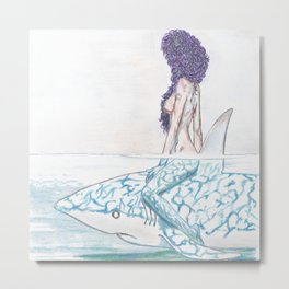 The girl and the fish Metal Print