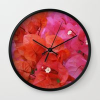 flora Wall Clocks featuring Flora by Kakel-photography