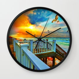 Colorful Beach Art Print Sunset Landscape Sea Hawk Wall Clock