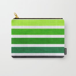 Colorful Green Stripes Carry-All Pouch