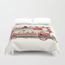 the big red party bus Duvet Cover