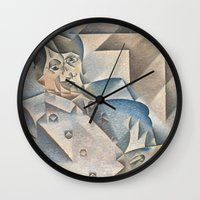 pablo picasso Wall Clocks featuring Portrait of Pablo Picasso by ArtMasters