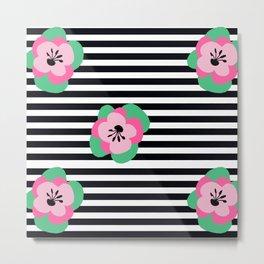 poppies stripes Metal Print