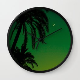 Tropical Palm Tree Silhouette Green Ombre Sunset Crescent Moon At Night Wall Clock