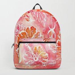 Hibiscus | Tropical Watercolor in Coral, Pink, Orange | #hibiscus #tropicalflower Backpack