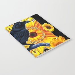 GRAPHIC BLACK CROW & YELLOW SUNFLOWERS ABSTRACT Notebook