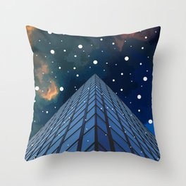 Snow in the city Throw Pillow