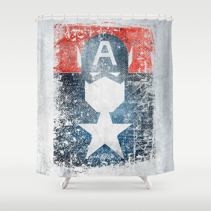 Yankee Captain Grunge Superhero Shower Curtain By Melted