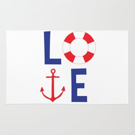 LOVE nautical red, white and blue - Anchor - Life Savor Rug