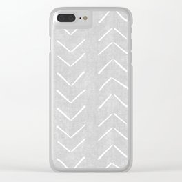 Mudcloth Big Arrows in Grey Clear iPhone Case