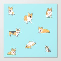 corgi Canvas Prints featuring Corgi by okayleigh
