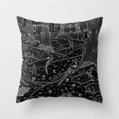 Nocturnal Animals of the Forest Throw Pillow