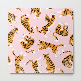 Lovely tiger falling from the pastel sky hand drawn illustration pattern Metal Print