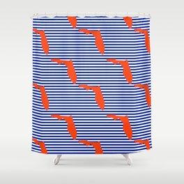 Florida university gators orange and blue college sports football stripes pattern Shower Curtain