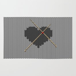 Original Knitted Heart Design Rug