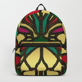 Victorian Stained Glass in Gold and Maroon Backpack